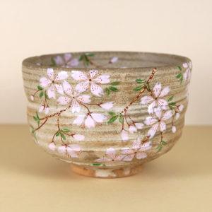 Matte Glaze w/Pink Flowers Matcha Bowl