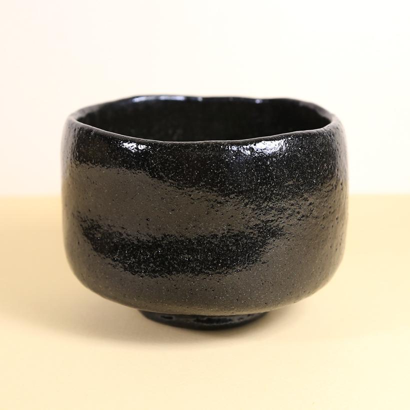Vintage Matcha Bowl - Black Raku