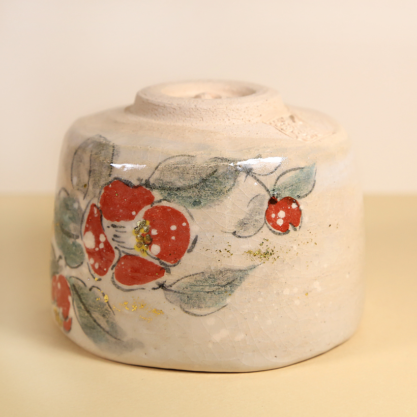Vintage Matcha Bowl Winter Camellia Flowers foot