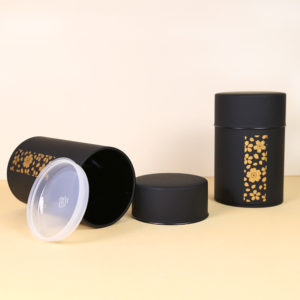 Black Matte Tea Tin with Gold Flowers