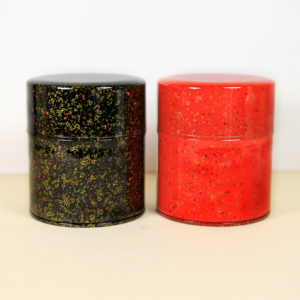 Japanese Red & Black Tea Tins with Gold Speckles