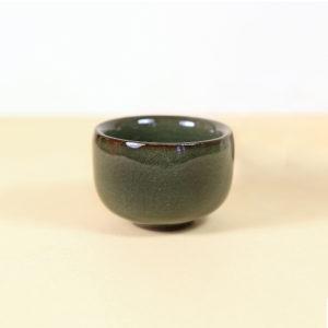 Small Dark Green Glazed Teacup