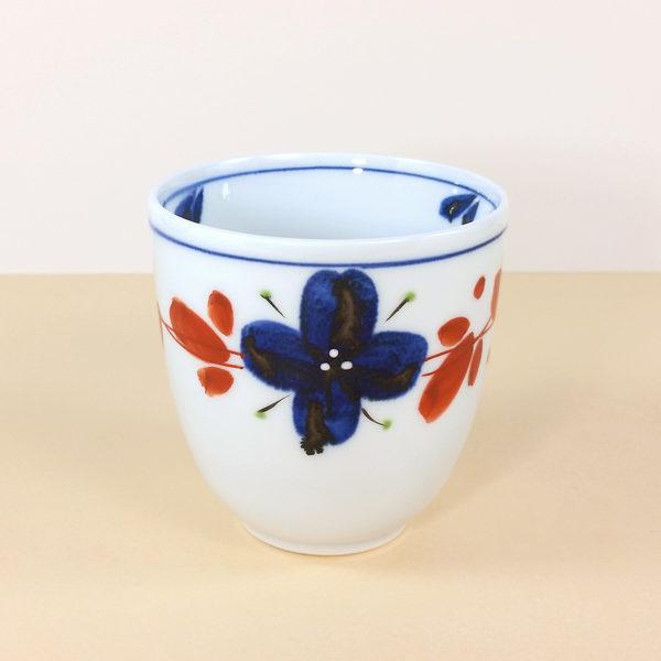 Porcelain Blue & Red Floral Teacup