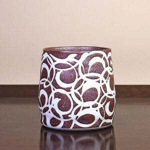 Brown Teacup with White Swirls