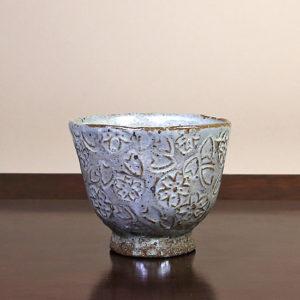 Grey Teacup with White-Wash Glaze
