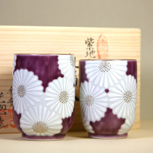Teacups with White Chrysanthemums