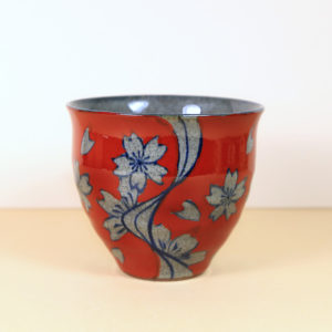 Japanese Red Teacup with Blue & Grey Flowers