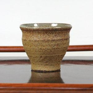 Mustard & Brown Teacup with Glazed White Swirl Interior