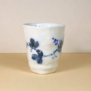 Japanese White Teacup with Blue Leaves