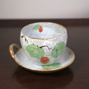 White Teacup & Plate Snack Set with Leaves and Red Flower