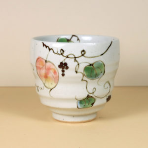 Japanese White Teacup with Leaves and Trailing Vines