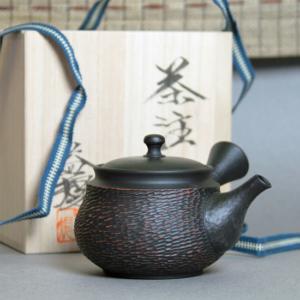 Tokoname Black Fukuro-Cut Teapot