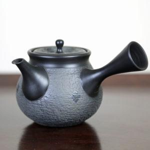 Tokoname Black with Knocking & Dark Squares Teapot