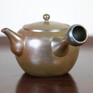 Tokoname Teapot with Metallic Finish & Cut Marks