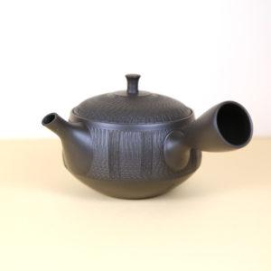Tokoname Black Low Teapot w/ Vertical Lines