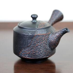Tokoname Black Fukuro-Cut Cylindrical Teapot